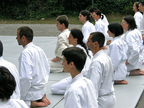 Aikido students preparing to train