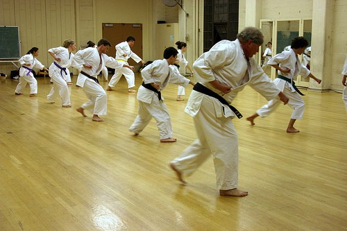 Karate training in a group class